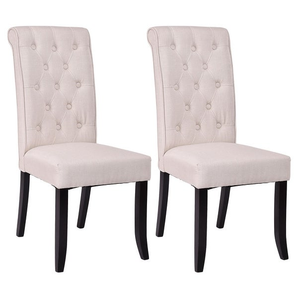 Free Kitchen Tufted Dining Bench With Back Ideas With: Shop Costway Set Of 2 Dining Chairs Fabric Upholstered
