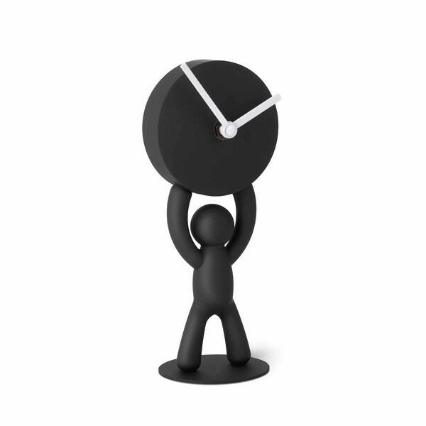 "Umbra 118510-040 4-1/8"" x 3-1/2"" Buddy Resin Analog Accent Clock - Black"