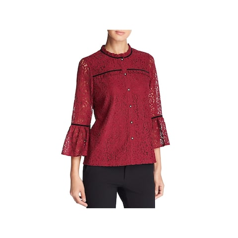 Karl Lagerfeld Womens Blouse Lace Bell Sleeves