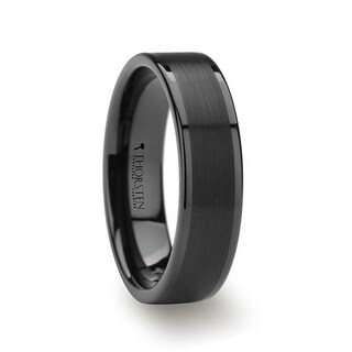 VULCAN Flat Black Tungsten Ring with Brushed Center & Polished Edges - 6mm