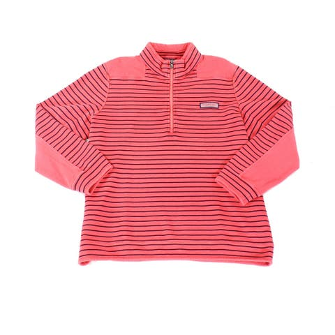 Vineyard Vines Mens Sweater Red Size Large L 1/2 Zip Garment-Dyed Pique