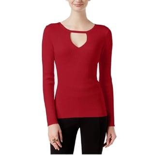 INC International Concepts Petites  Keyhole Sweater Real Red M - Medium