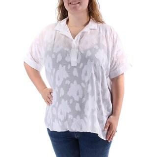 INC $34 Womens New 1221 White Textured Sheer Dolman Sleeve Hi-Lo Top L B+B