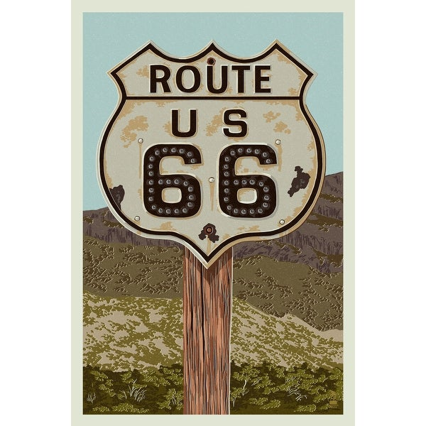 Route 66 - Letterpress - LP Artwork (100% Cotton Towel Absorbent)