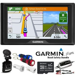 Garmin Drive 61 LM Navigation System (United States Maps) + Road Safety Accessories + (2 Year Extended Warranty)
