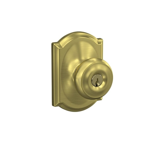 Schlage F51 GEO CAM Georgian Keyed Entry F51A Panic Proof Door Knob With  Camelot