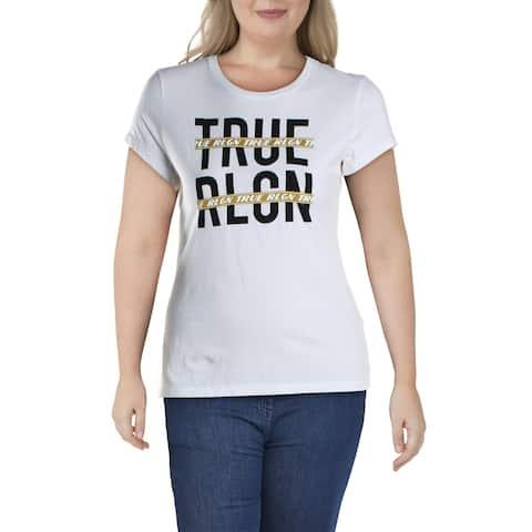 True Religion Womens Graphic T-Shirt Logo Short Sleeves - White