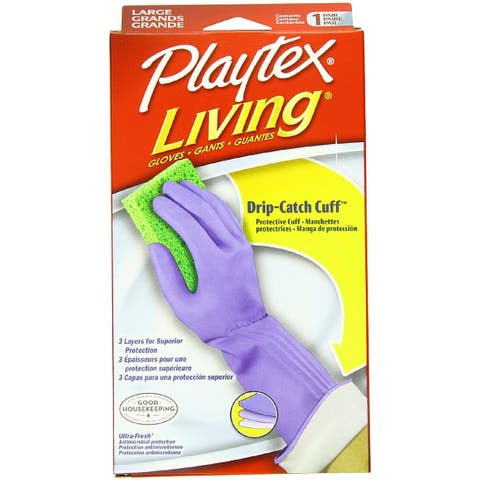Playtex Living Drip-Catch Cuff Gloves, Large 1 Pair
