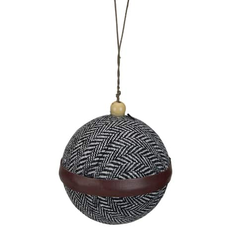 """4"""" Black and White Houndstooth With Brown Strip Fabric Christmas Ball Ornament - N/A"""