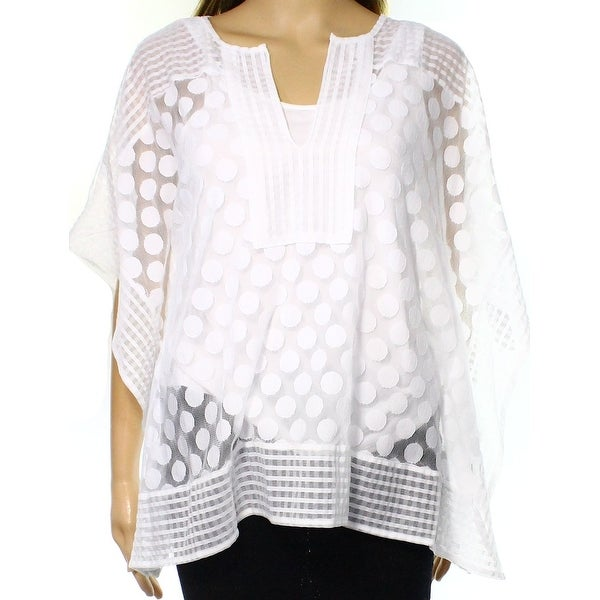 6007bdc227754 Shop Alfani NEW White Sheer Dot Knit Mesh Women s Size XS Poncho Blouse -  Free Shipping On Orders Over  45 - Overstock - 18363467