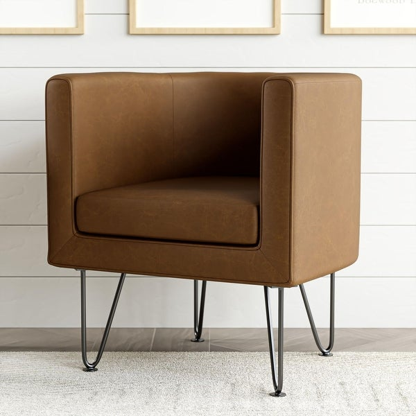 Brookside Claire Upholstered Barrel Accent Chair with Hairpin Legs. Opens flyout.