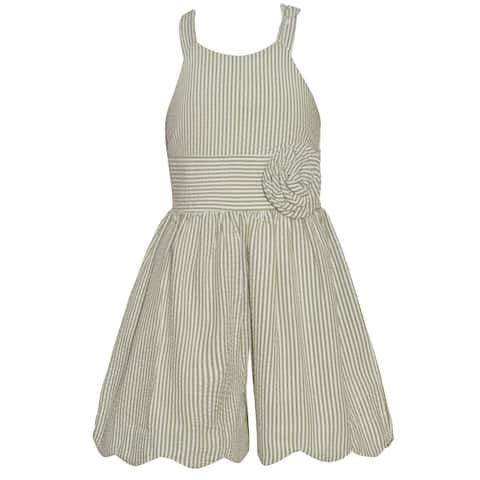4ed4b2e87080 Bonnie Jean Little Girls Green Pinstripe Sleeveless Scalloped Hem Romper