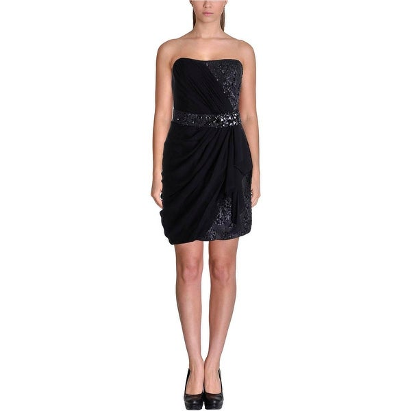 LM Collection Womens Cocktail Dress Sequined Strapless - 8