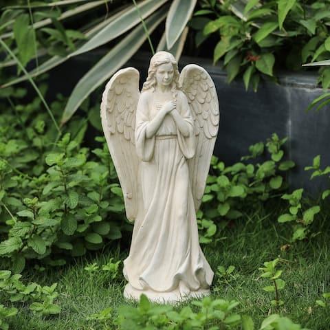 Off-White MgO Serene Standing Angel Garden Statue