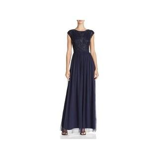 Adrianna Papell Womens Evening Dress Sheer Beaded