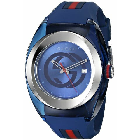 Gucci Unisex YA137104 'Sync' Two-Tone Silicone Watch - Blue