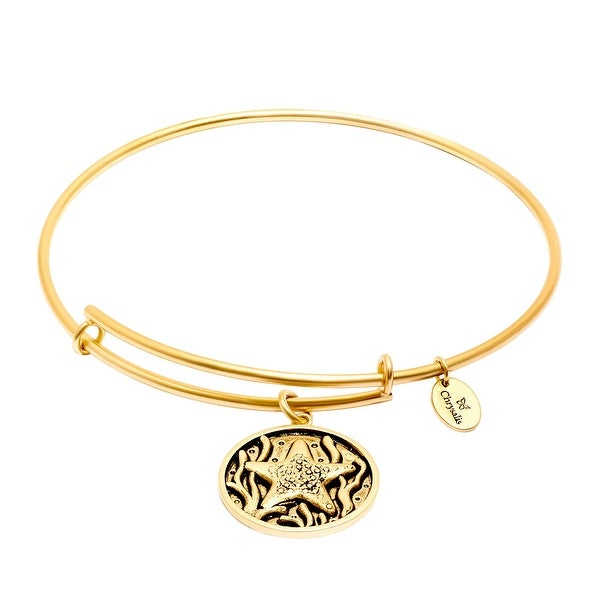 Chrysalis Expandable Starfish Bangle Bracelet in 14K Gold-Plated Brass