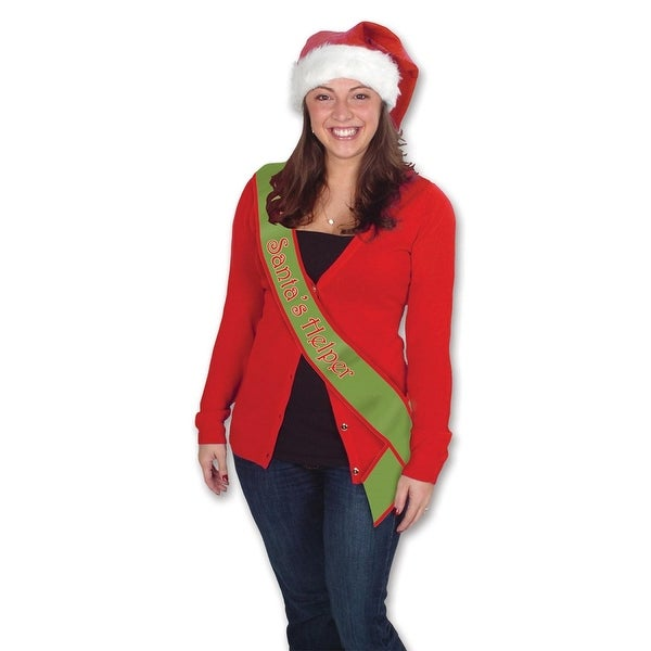 "Pack of 6 Green and Red ""Santa's Helper"" Christmas Satin Sashes 33"""