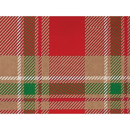 """Pack Of 1, Christmas Plaid 24"""" X 85' (Kraft) Roll Christmas Premium Gift Wrap Papers For 40-50 Gifts Made In Usa"""