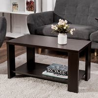 Costway Coffee Table Rectangular Cocktail Table Living Room Furniture w/ Storage Shelf