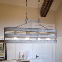 "Luxury Modern Farmhouse Chandelier, 17""H x 38.5""W, with Rustic Style, Galvanized Steel Finish by Urban Ambiance"