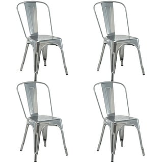 Costway Set Of 4 Dining Side Chair Stackable Bistro Cafe Metal Stool Vintage