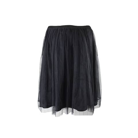 City Chic Plus Size Black Pleated A-Line Skirt 16W