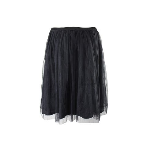 City Chic Trendy Plus Size Black Pleated A-Line Skirt 14W