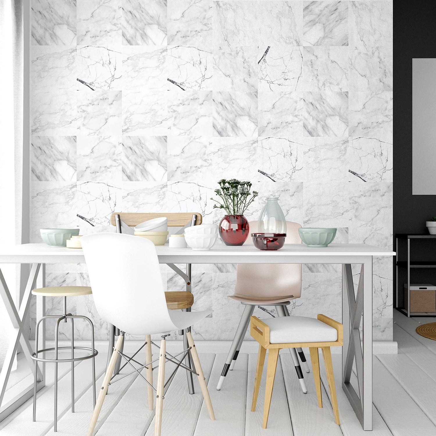 Walplus Bathroom Kitchen Marble Wall Tile Stickers Peel And Sticks Mix 12pcs 8 X8 Overstock 31665170