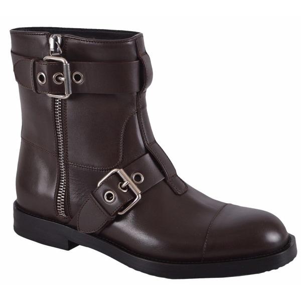 Gucci Men's 368430 Leather Sella Ankle Biker Boots Shoes 14.5 G 15.5 US