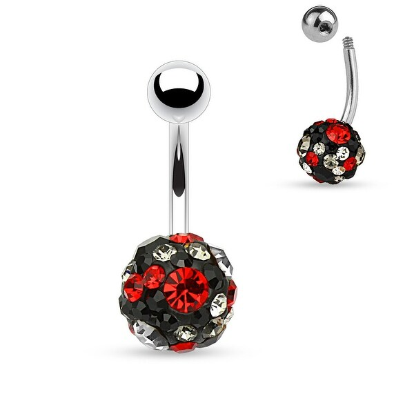 "Black Crystal Pave Ferido Ball Surgical Steel Belly Button Navel Ring-14GA-3/8"" Length (Sold Ind.)"