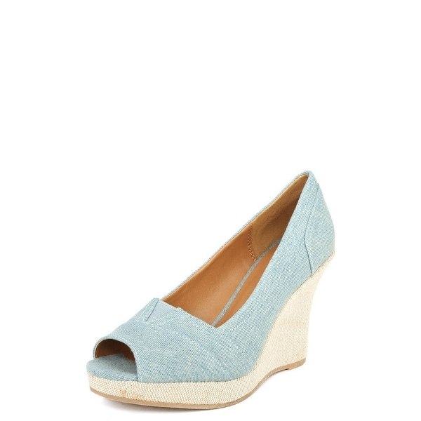 Qupid Talen-265 Peep Toe Canvas Wedge Heel Sandals - Light Blue Denim