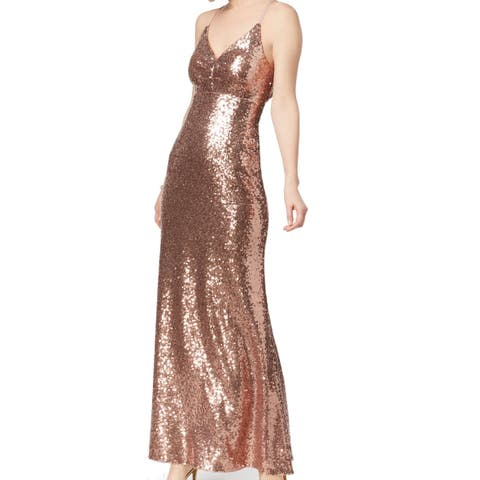 c514c7aba28 Nightway Rose Gold Womens Size 10 Sequin Shimmer Strappy Back Gown