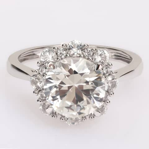 Miadora Created White Sapphire Halo Floral Engagement Ring in 10k White Gold