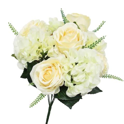 Mixed Rose Hydrangea Flower Stems Bush Bouquet 18in