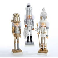 """Set of 3 Hollywood Silver, Gold and White Present Hat Decorative Wooden Christmas Nutcrackers 18"""" - silver"""