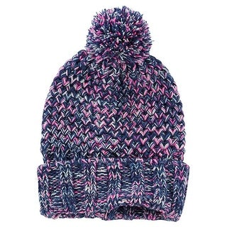 OshKosh B'Gosh Girl's Purple Sparkle Knit Pom Pom Beanie  - 7-14 Kids