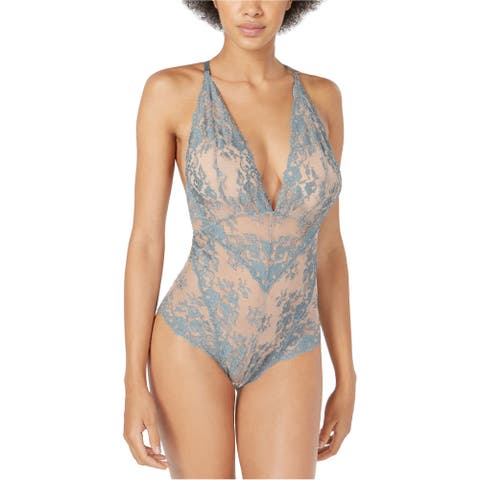 Free People Womens Lace Bodysuit Jumpsuit, blue, Small