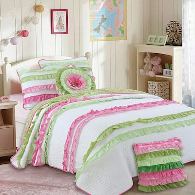 Cozy Line Charlotte Chic Pink Green Ruffle Quilt Set