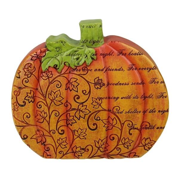 "6"" Thanksgiving Autumn Harvest Orange Pumpkin Decoration with Inspirational Verse - N/A"