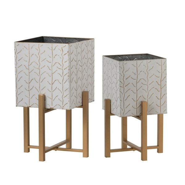 """Set of 2 White and Brown Small Classic Planters with Stand 19.5"""" - N/A"""