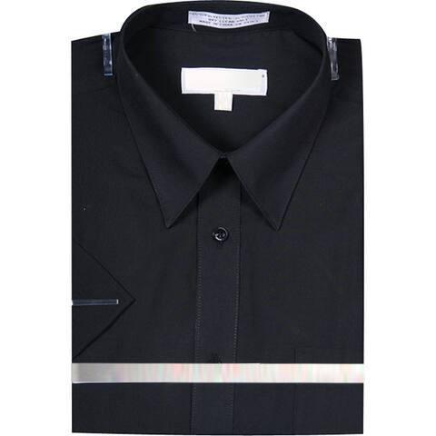 Men's Basic Short Sleeve Dress Shirt Solid Color