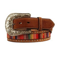 Nocona Western Belt Womens Inlay Ribbon Brads Medium Brown