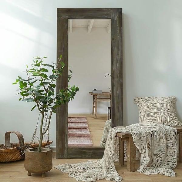 Rustic Wood Freestanding Full-length Floor Mirror - Overstock - 30272549