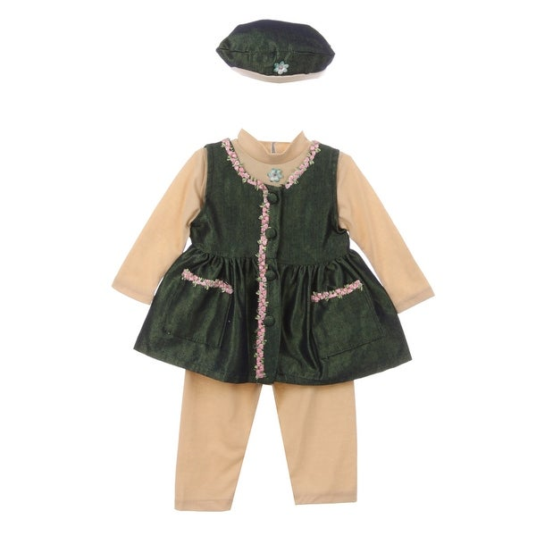 Baby Girl Beige Green Bonnet Flower Pocket Long Sleeve Pants Outfit 6M
