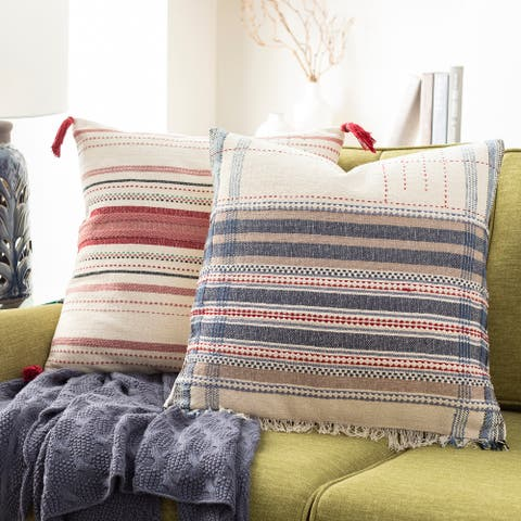 The Curated Nomad Park Hand-embroidered Boho 20-inch Pillow Cover