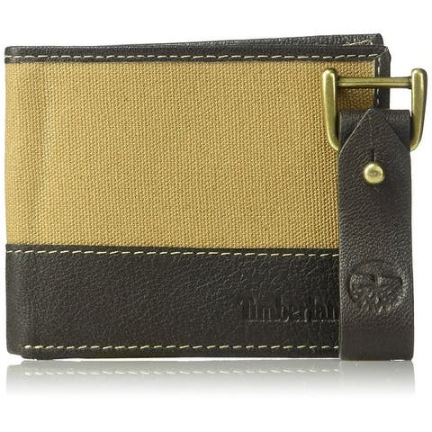 Timberland Mens Canvas and Leather Bifold Wallet with Leather Key Fob Set - One Size