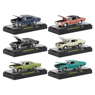 Detroit Muscle 6 Cars Set Release 45 IN DISPLAY CASES 1/64 Diecast Model Cars by M2 Machines