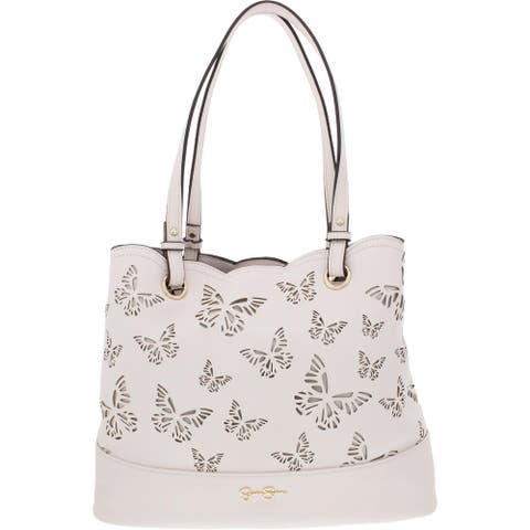 Jessica Simpson Reine Women's Faux Leather Scalloped Laser Cut Signature Tote Handbag - Large