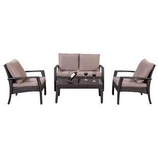 Costway 4pc Patio Rattan Furniture Set Tea Table U0026Chairs Outdoor Garden  Steel Frame
